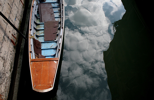 Reflected Cloud Boat in Venice