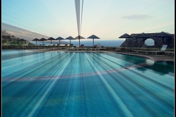 Pool at Royal Myconian Hotel in Elia Beach, Mykonos, Greece