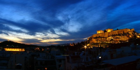 Athens blue hour