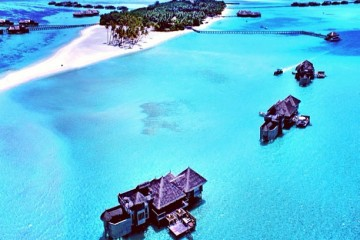 Overwater Bungalows of Maldives (aerial shot)