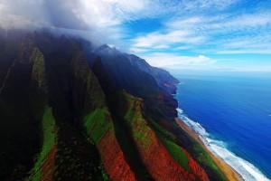 Stunning Shades of Kauai's Napali Coast from Above, Hawaii