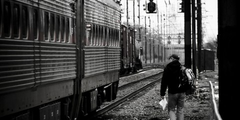 Man catching train in Philadelphia