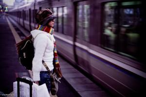 Solo girl on subway platform in Osaka, Japan