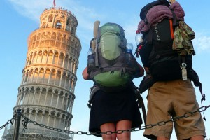 Backpackers at the Tower of Pisa, Italy
