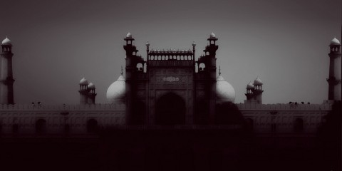 Badshahi Mosque in the Gray, Pakistan