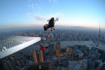 BASE Jumping from Shanghai's Jin Mao Tower
