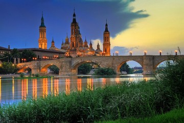 Spain's Basilica del Pilar at Sunset