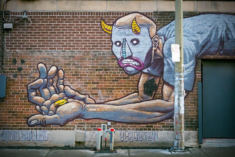 Beggar Graffiti in Montreal