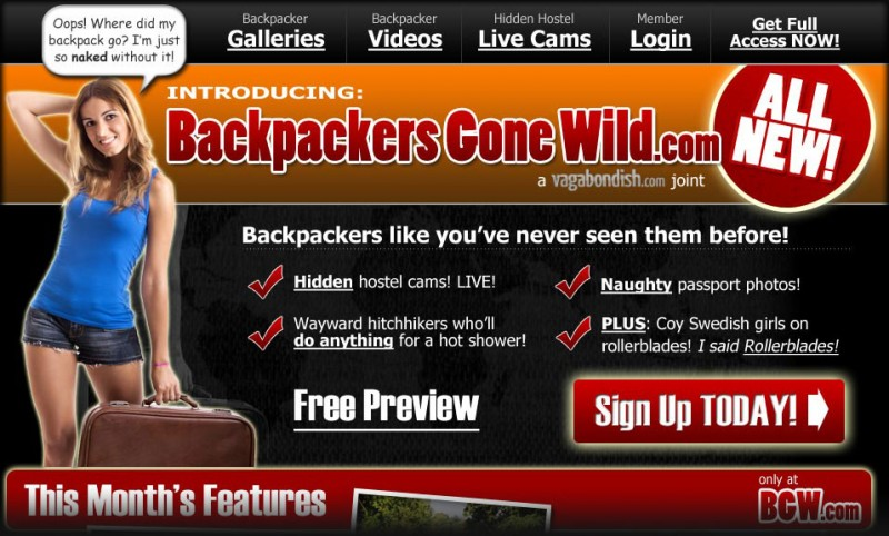 BackpackersGoneWild.com (Homepage screenshot)