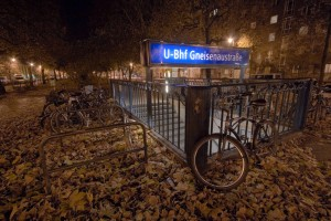Bicycle stand near subway station, Berlin, Germany
