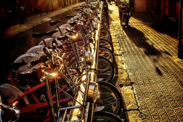 Biking at Daybreak, Barcelona, Spain