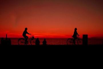 Bikers on Summer Evening in Visby, Sweden