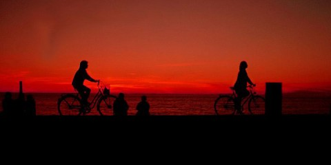 Bikers on Summer Evening in Visby, Sweden