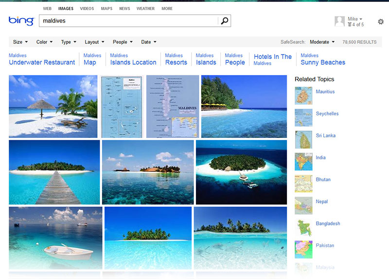 Bing Image Search for Maldives