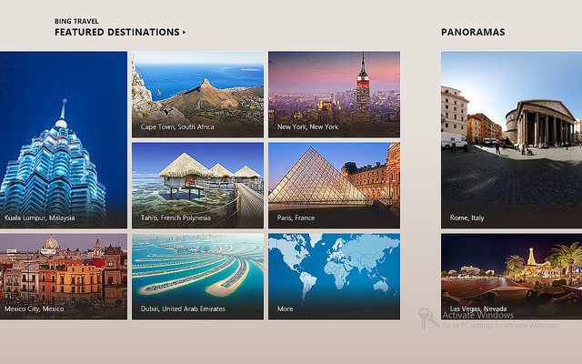 Bing Travel App for Windows 8 (screenshot)
