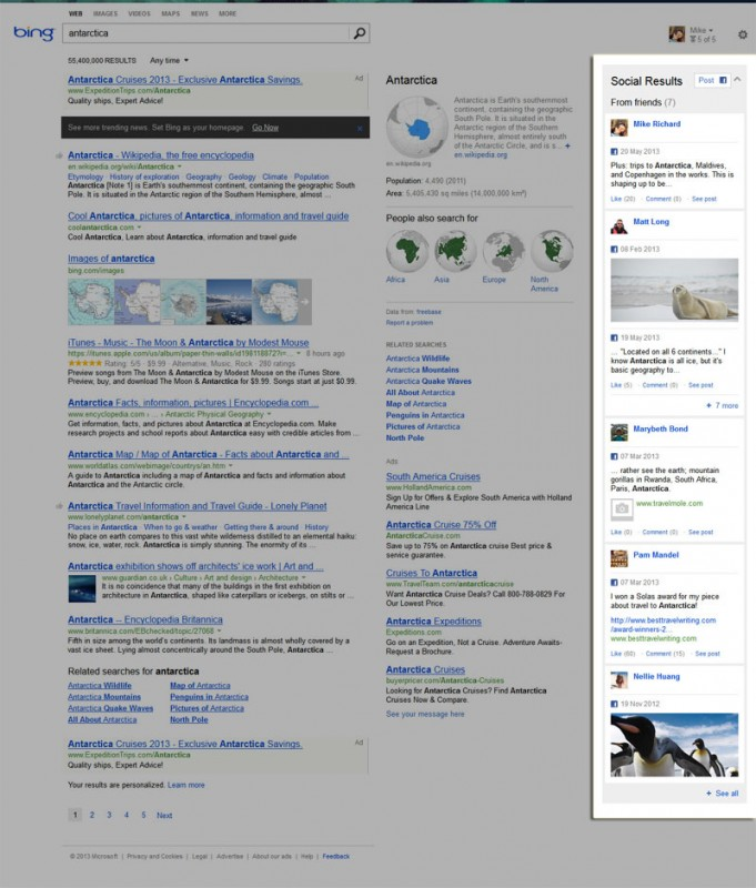 Bing Travel Search for Antarctica