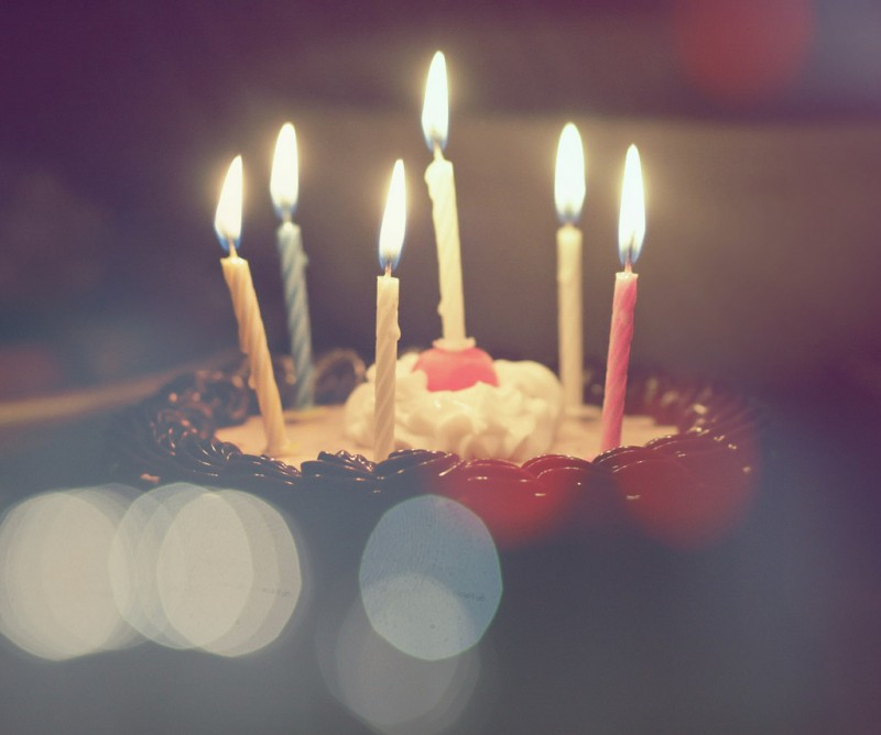 Candles on a Birthday Cake (closeup)