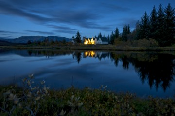 The Still of Blue Hour in Þingvellir, Iceland