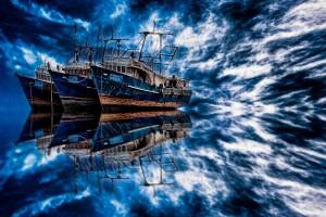 The Blue Ships of Doha Port, Kuwait