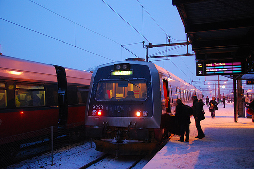 Boarding the Train in Hamar, Norway