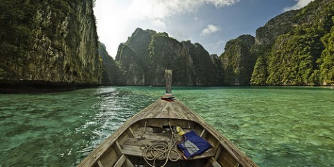 View from a boat in Pileh Bah, Thailand