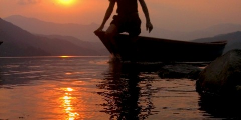 Floating Boatman at Phewa lake, Nepal