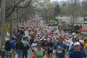 Running Boston Marathon in Natick, Massachusetts