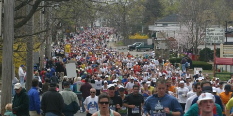 Running Boston Marathon in Natick, Massachusetts