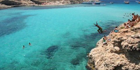 Boy Cliffdiving in Malta