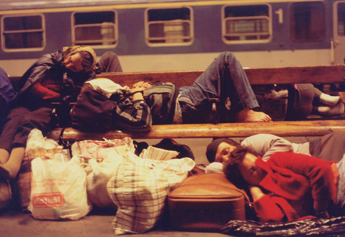 Sleepy Train Station Travelers, Budapest