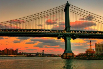 Burning Sky Over Manhattan Bridge