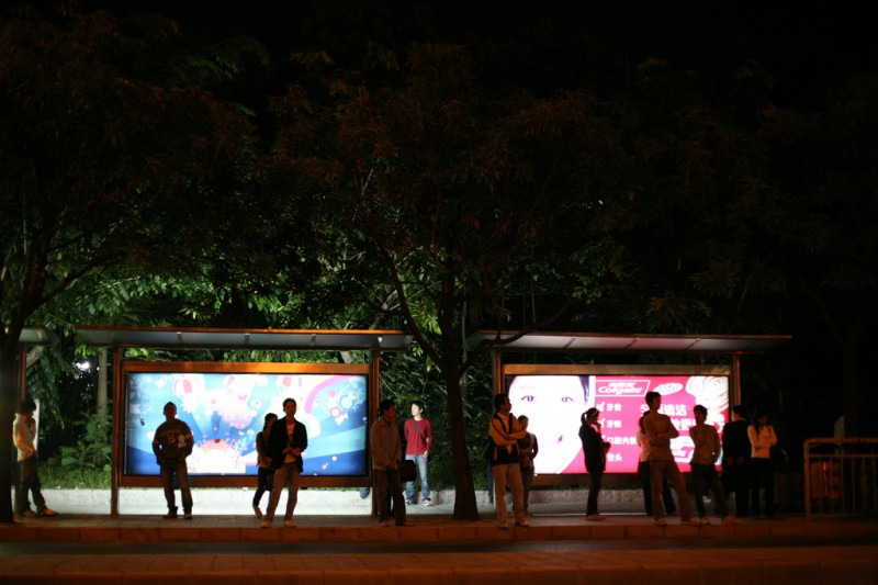 Bus Stop by Night in Shenzen, China