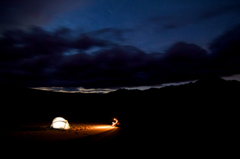 Solo camping at night in Colorado