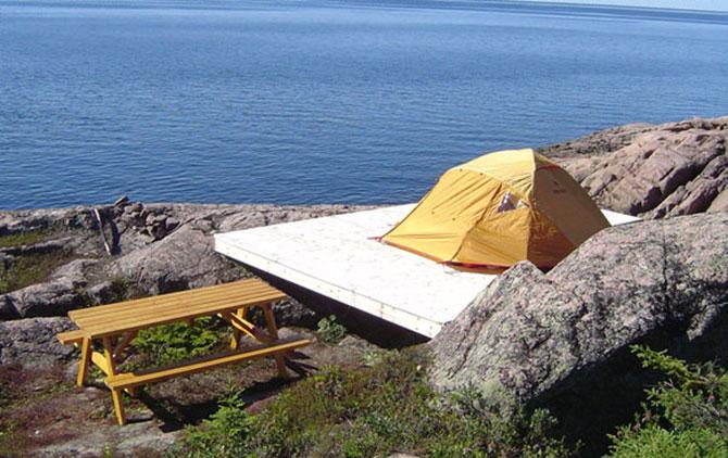 Camping at Mer et Monde, Quebec