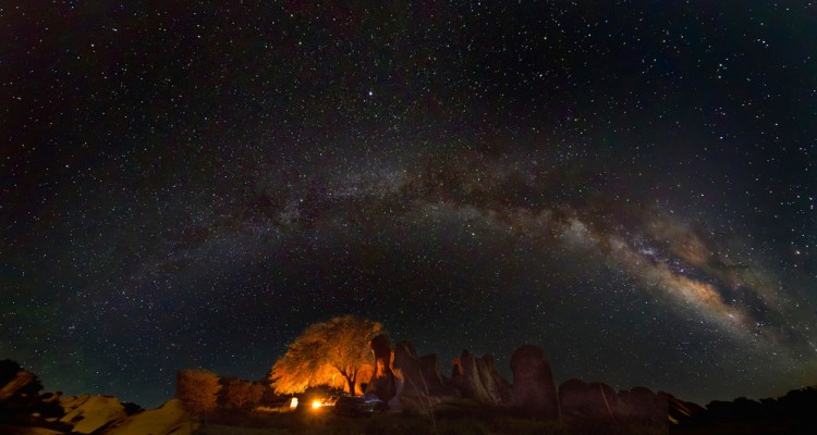 Camping under the stars at City of Rocks State Park, New Mexico