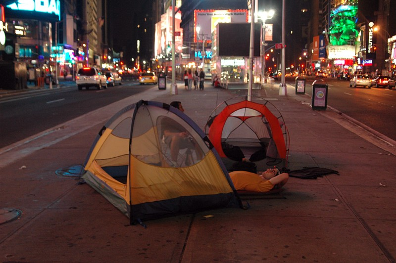 Camping in Times Square, New York City