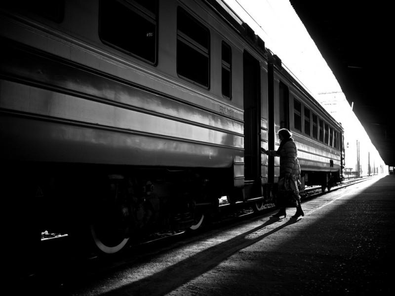 Catching the Train in Riga, Latvia