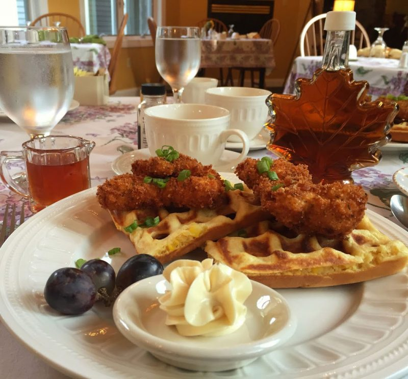 Chicken and Sweet Corn Waffles at Stone Hill Inn in Stowe, Vermont