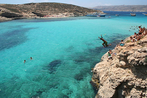 Photo Of The Moment Cliff Diving Into The Blue Malta