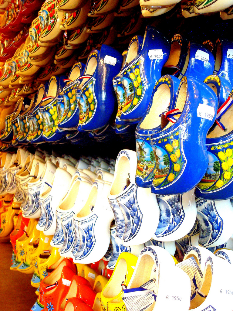 Store with rows of hanging clogs, Amsterdam