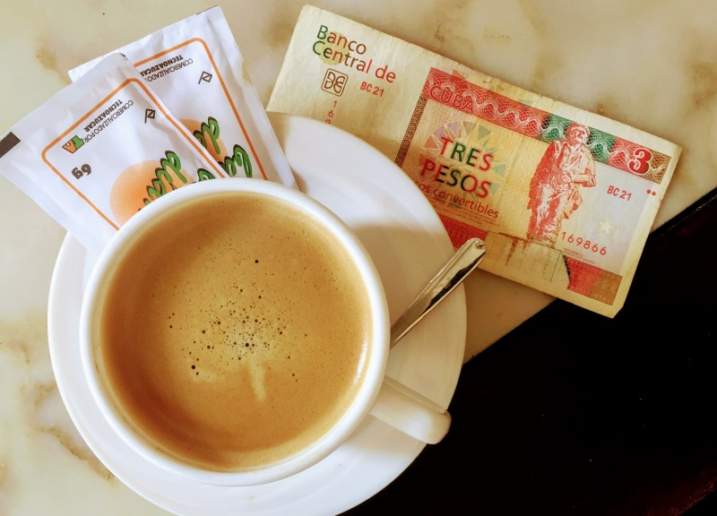 Coffee and Cash at a Hotel in Havana