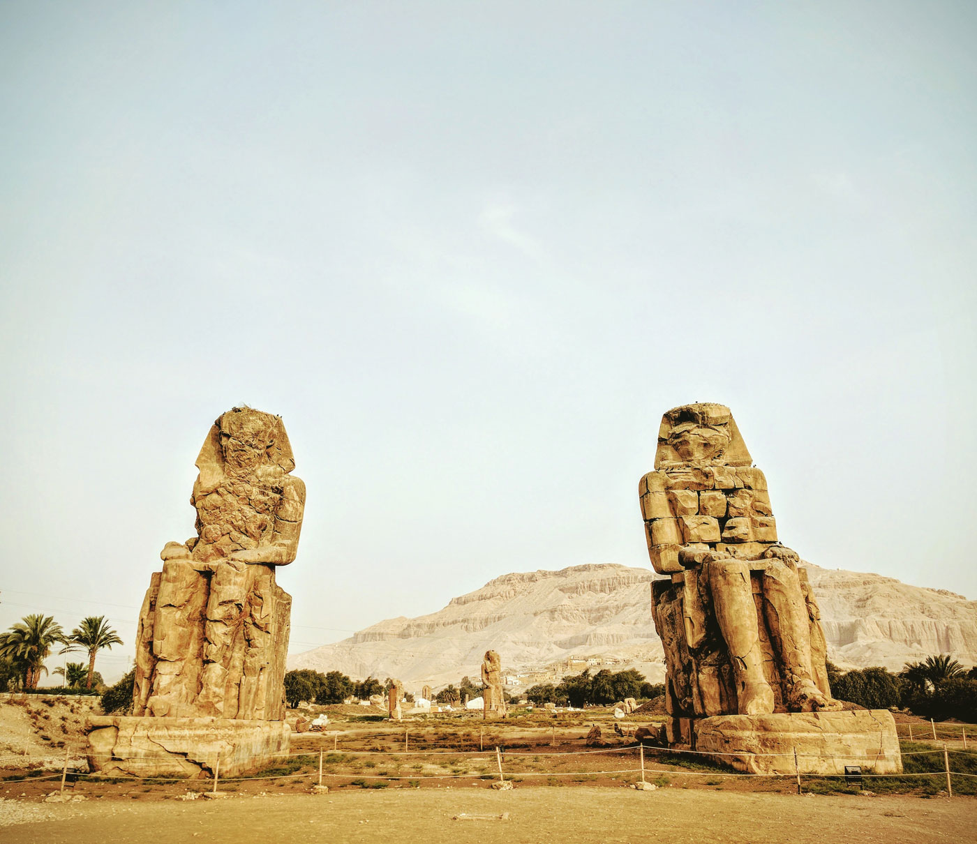 Colossi of Memnon statues at the Theban Necropolis near modern day Luxor