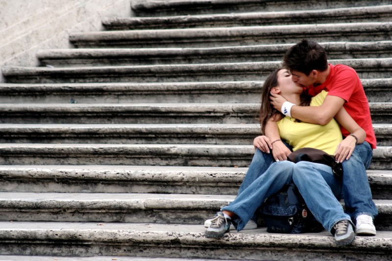 A Kiss on the Steps, Rome, Italy