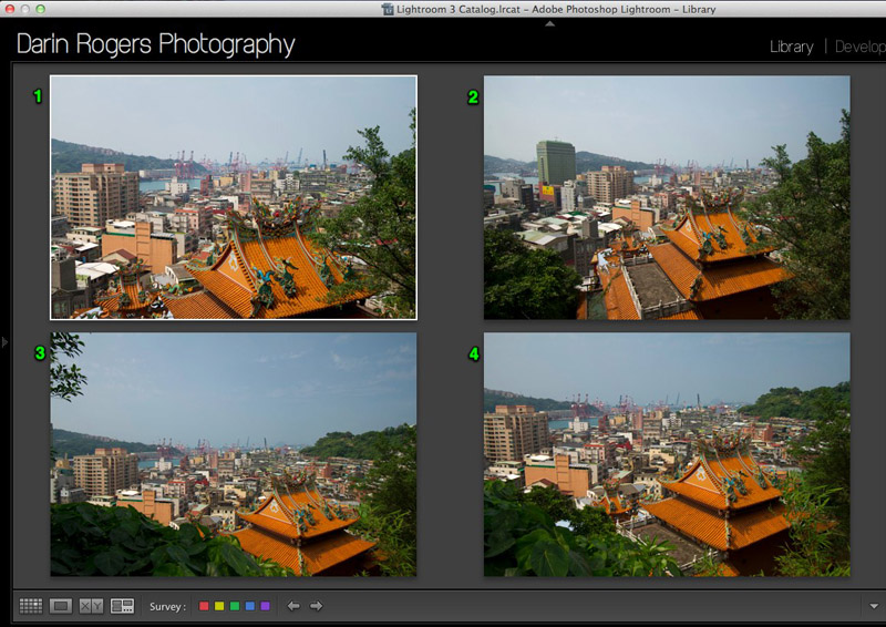 Software displaying four slight variations of a single travel photo