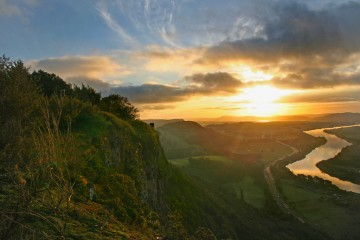 Watching dawn sunrise from Kinnoull Hill over the River Tay, Scotland