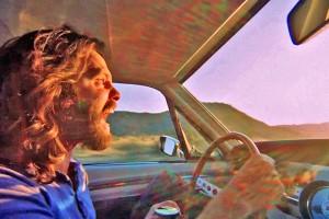Crazed Guy on Road Trip
