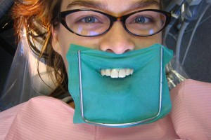 Patient with Dental Dam