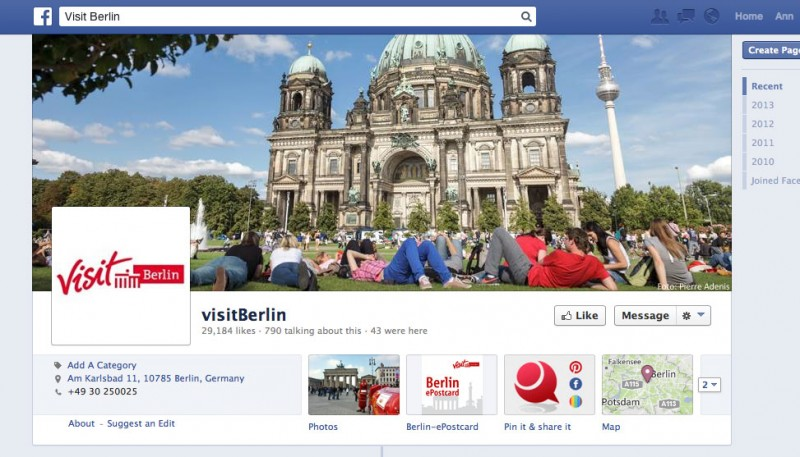 Destination Facebook Page for Visit Berlin (screenshot)