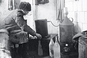 Man Distilling Vodka