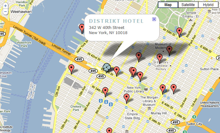 new york map city. Distrikt Hotel, New York City